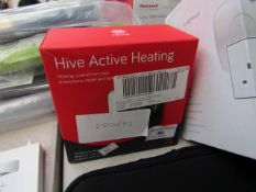 Hive Active Heating smart thermostat, unchecked and boxed.