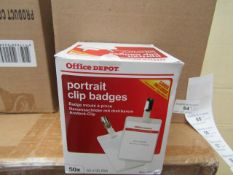 4 Boxes of 50 x 60mm x 90mm Office Depot Clip Badges with cards. Unused & Boxed