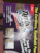   1X   TURBO SCRUB deluxe kit CORDLESS HAND HELD POWER SCRUBBERS   UNCHECKED AND BOXED   SKU