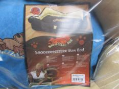 "5x Snoozzzeee Dog - Blue Bow Dog Bed (28"") - All New & Packaged."