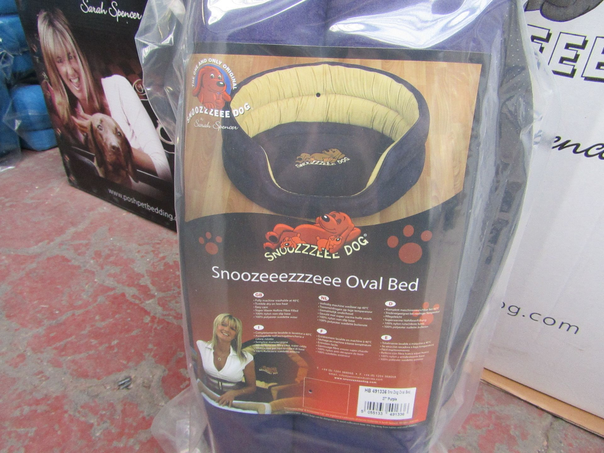 """5x Snoozzzeee Dog - Oval Purple Dog Bed (27"""") - All New & Packaged."""
