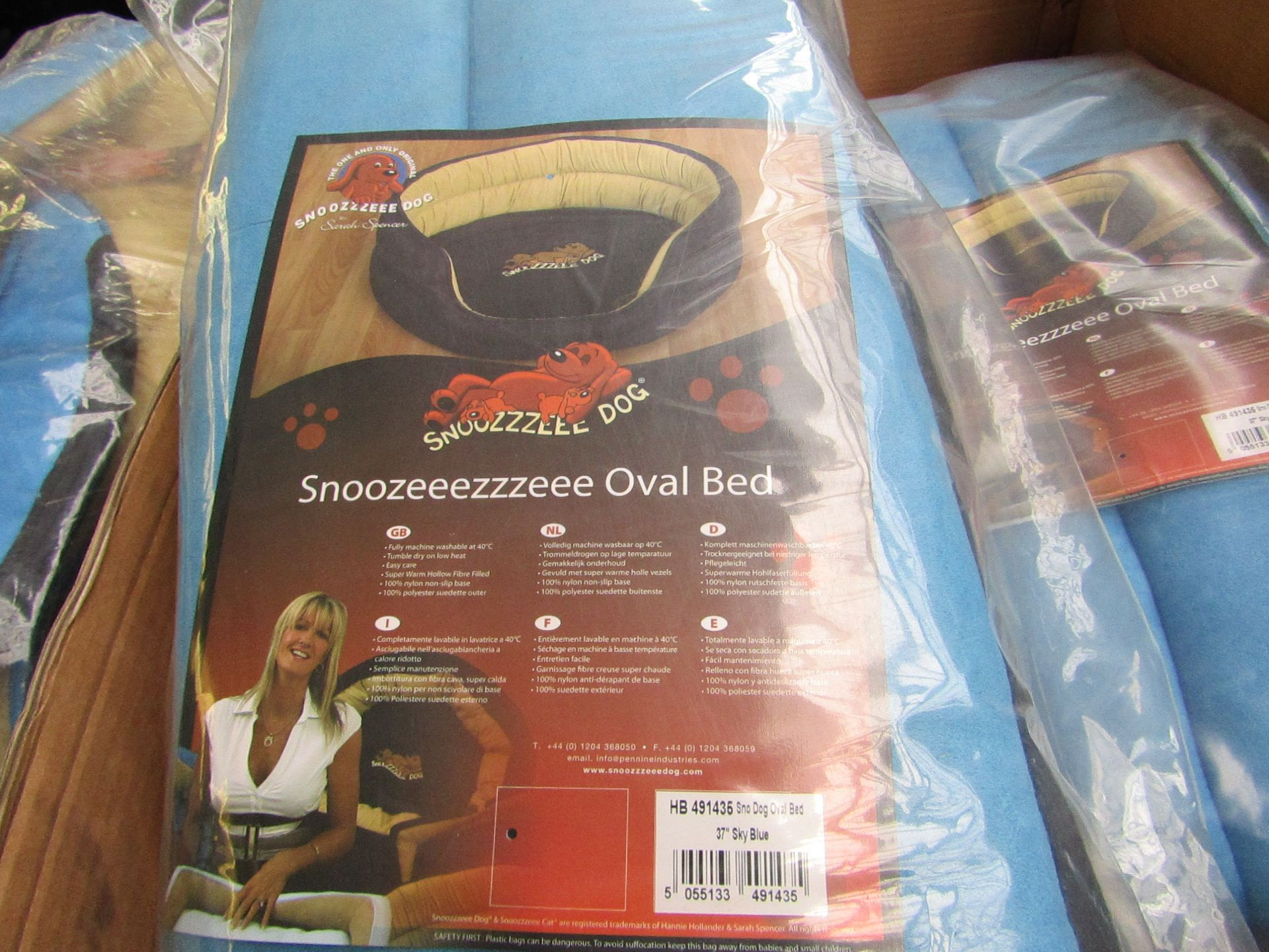 """5x Snoozzzeee Dog - Oval Sky Blue Dog Bed (37"""") - All New & Packaged."""