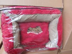 "5x Snoozzzeee Dog - Cherry Red Sofa Dog Bed (23"") - All New & Packaged."