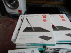 Logitech ultra thin keyboard folio for iPad Air, untested and boxed. QWERTY keyboard