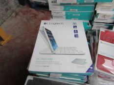 Logitech Ultra Thin magnetic clip on keyboard cover for iPad Air, untested and boxed. QWERTY