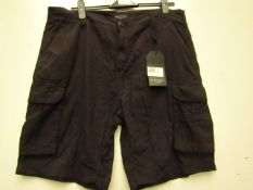 Brave Soul Mens Black Cargo Shorts size XL new with tag see image