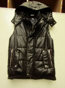 Zara Men Dark Brown Hooded Gilet  size XL see image