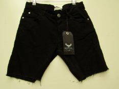 Brave Soul Mens Black Jean Shorts size S with tag