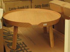 | 1X | MUUTO LARGE ROUND OAK COFFEE TABLE | LOOKS UNUSED (NO GUARANTEE), BOXED | RRP £623.00 |