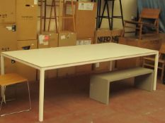 | 1X | HAY WHITE DINING TABLE 250 X 120CM | LOOKS UNUSED (NO GUARANTEE) | RRP £1055.00 | HAS 2 SMALL