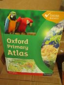 Box of 20 Oxford Primary Atlas's. RRP £12.99 each. Unused & Boxed