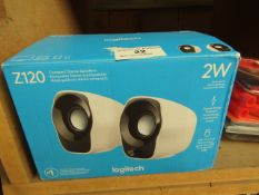 Logitech Z120 Compact Stereo Speakers. Boxed but untested.