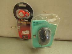 2 Items Being a Logitech M185 Mouse & an Am Tech 3 LED Headlight. Both packaged