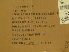 | 1X | POWER SMOKELESS GRILL | BOXED AND UNTESTED | NO ONLINE RESALE | SKU - | RRP £ 79.99 | TOTAL
