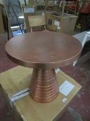 | 1X | FAIRBAIRN COPPER SIDE TABLE 46 H X 46 D CM | RRP £175 | HAS SOME SURFACE MARKS ON TOP | NO