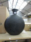 | 1X | COX & COX  ROUND HAMMERED BLACK VASE 41 H  X 34 D  | RRP £95 | LOOK UNUSED, NO GUARANTEE |