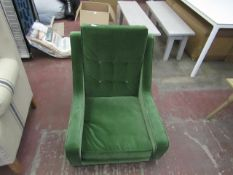 | 1X | SCOTT GRASS COTTOIN VELVET ARMCHAIR | LOOKS UNUSED (NO LEGS)  (NO GUARANTEE)| RRP £599 |