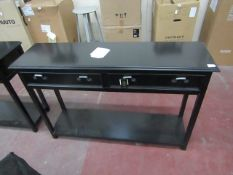 | 1X | COX & COX LIVING ROOM BLACK TWO DRAWER CONSOLE TABLE 120 X 83 X 33 CM | RRP £525 | LIGHT
