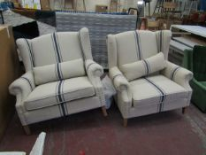 | 2X | COX & COX LIVING ROOM ANA FRENCH STRIPE OVERSIZED ARMCHAIRS | RRP £995 EACH LOOKS UNUSED (