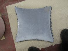 | 1X | GREY VELVET TASSLE CUSHION 45 X 45 CM  | LOOKS UNUSED | RRP - £40 | NO GUARANTEE |