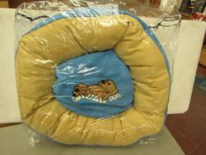 """1x Snoozzzeee Dog - Sky Blue Donut Dog Bed (Size 19"""") - All New & Packaged."""