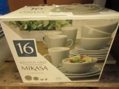 Melanie Grey Mikasa 16 Piece Dinnerware Set. 3 mugs & 1 Dish Chipped. Boxed & Unused