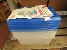 6 x 15L Buckle Up Storage Boxes. 29.5cm x 29cm x 18.6cm. Unused