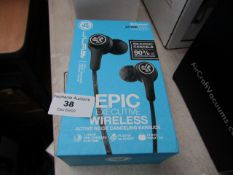 JLAB Epic wireless earphones, unchecked and boxed.