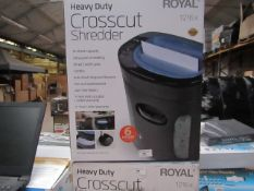 Royal heavy duty cross cut shredder, unchecked and boxed.