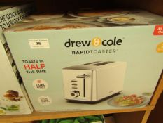   1X   DREW AND COLE 2 SLICE RAPID TOASTER   REFURBISHED AND BOXED   NO ONLINE RE-SALE   SKU -   RRP