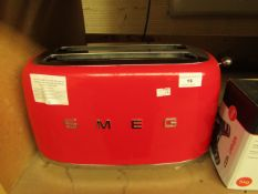 Smeg 4 Slice toaster in Red. Tested Working. Has a couple of light Scuffs