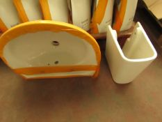 Centersuite 550mm 2TH basin with a semi pedestal, new. Please note, the pedestal and basin are