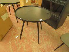 | 1X | COX & COX INDUSTRIAL BLACK METAL ROUND SIDE TABLE 60CM DIAMETER BOXED | RRP £175| LOOK