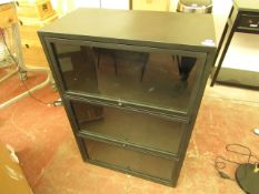 | 1X | COX & COX CUROSITY BLACK IRON CABINET WITH THREE GLASS DOORS THAT SLIDE UP & IN |RRP £395 |