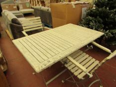 | 1 X | GREY METAL & DISTRESSED WOOD OUTDOOR FOLDING DINNING TABLE & TWO FOLDING CHAIRS RRP £599 |