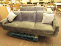 Bainbridge Grey Velour 3 seater Sofa with 2 Accent Cushions 219 x 90 x 90 cm rrp £899 when new (