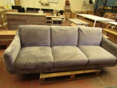 Bainbridge Grey Velour 3 seater Sofa 219 x 90 x 90 cm RRP £899 looks new (but is missing legs)