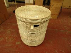 | 1X | COX & COX ROUND RATTAN WHITE WASHED RATTAN LAUNDRY BASKET 45 D X 55 CM H | RRP £125 | LOOKS