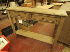 | 2 X | COX & COXCAMILLE LIMEWASHED CONSOLE TABLE 87 X 27 X 100 CM | LOOKS UNUSED (DAMAGE TO