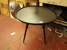 | 1X | COX & COX INDUSTRIAL BLACK METAL ROUND SIDE TABLE 60CM DIAMETER | RRP £175 | BOXED | LOOK