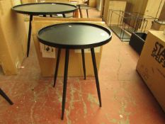 | 1X | COX & COX INDUSTRIAL BLACK METAL SMALL ROUND SIDE TABLE | RRP £125 | BOXED | LOOK