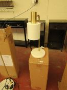 | 1X | COX & COX HUDSON WHITE & BRASS WITH WHITE MARBLE BASE DESK LAMP | RRP £75| LOOKS UN-USED NO
