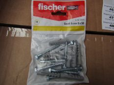 5x Fischer - Coach Screws 6 x 50 (Packs of 10) - New & Packaged.