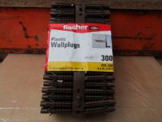 5x Fischer - Brown Plastic Wall Plugs (Packs of 300) - New & Packaged.