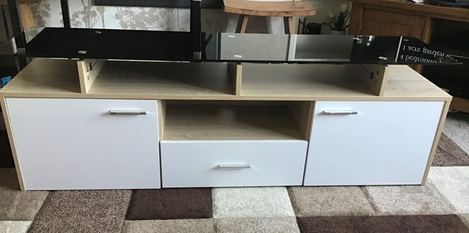 White and oak Melamine TV unit with 9 colour LED lighting, brand new and boxed. RRP Circa £160.00 - Image 8 of 8