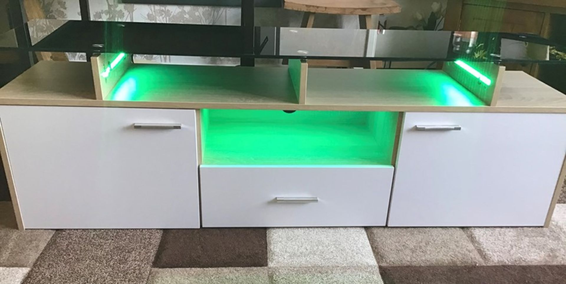 White and oak Melamine TV unit with 9 colour LED lighting, brand new and boxed. RRP Circa £160.00 - Image 3 of 8