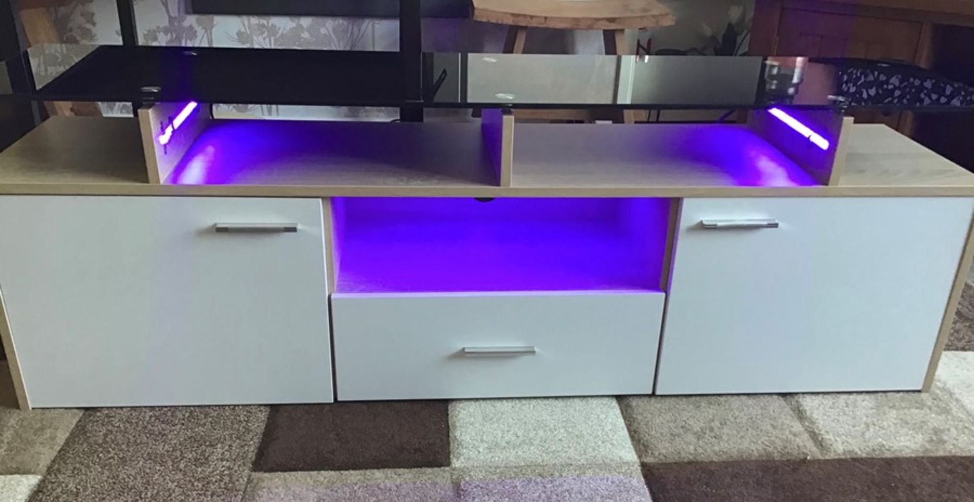 White and oak Melamine TV unit with 9 colour LED lighting, brand new and boxed. RRP Circa £160.00 - Image 4 of 8