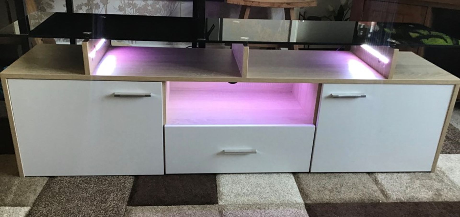 White and oak Melamine TV unit with 9 colour LED lighting, brand new and boxed. RRP Circa £160.00 - Image 2 of 8