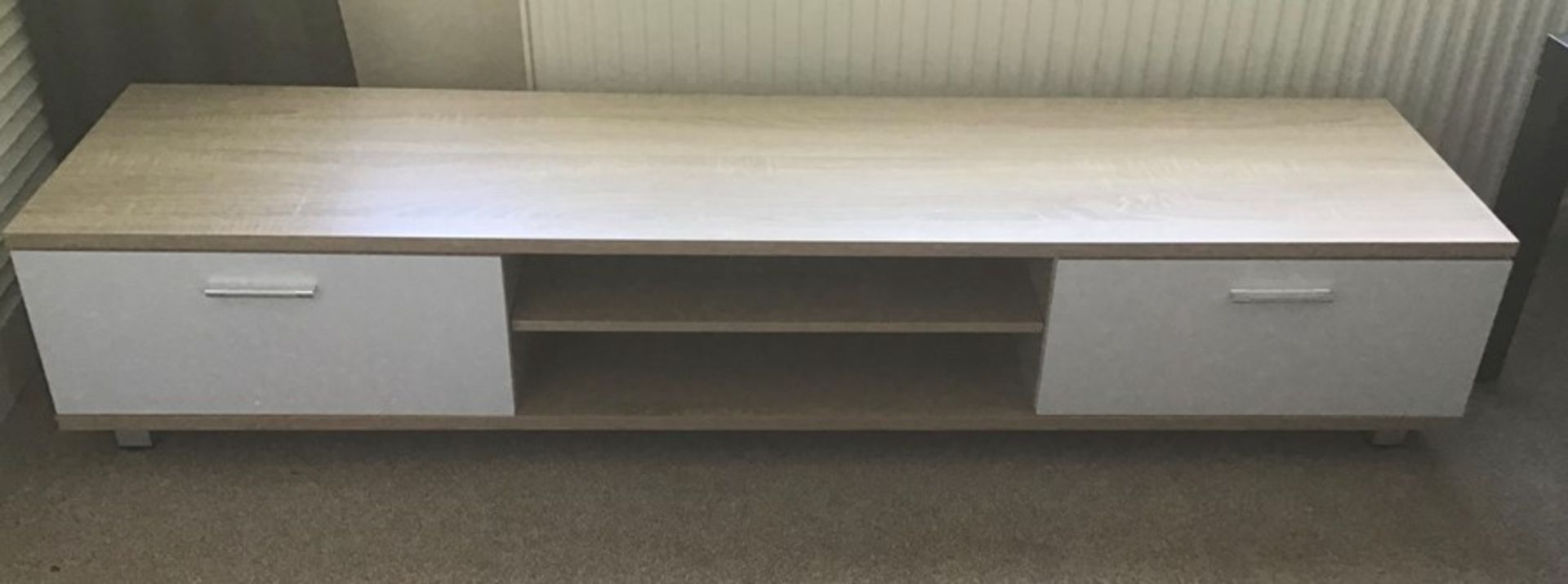 Oak and white 128cm TV stand, brand new, flat packed and boxed. RRP Circa £100.00 |3x Boxes