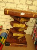 Wooden Book Design Side Table. 52cm Tall x 33cm Wide. Very Solid